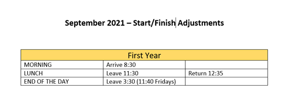 Start/Finish Times Adjustments - First Years
